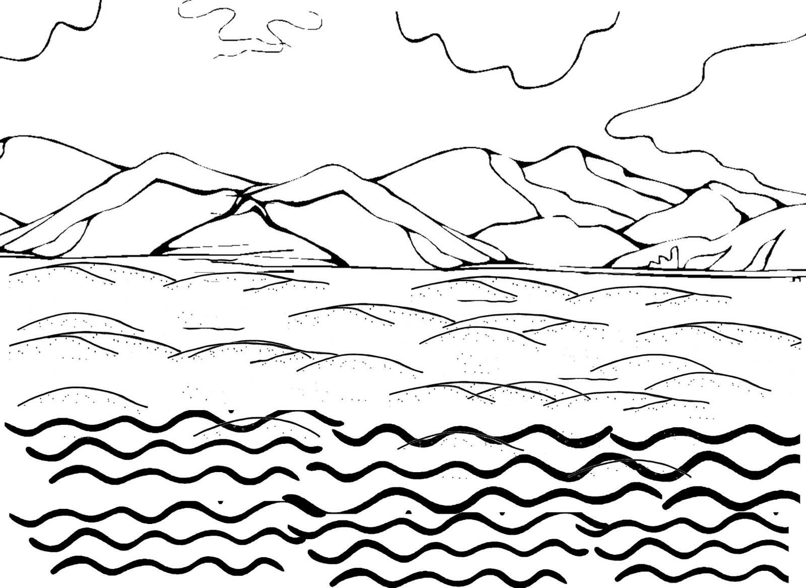 1600x1167 Ocean Water Coloring Pages Waves Free Within