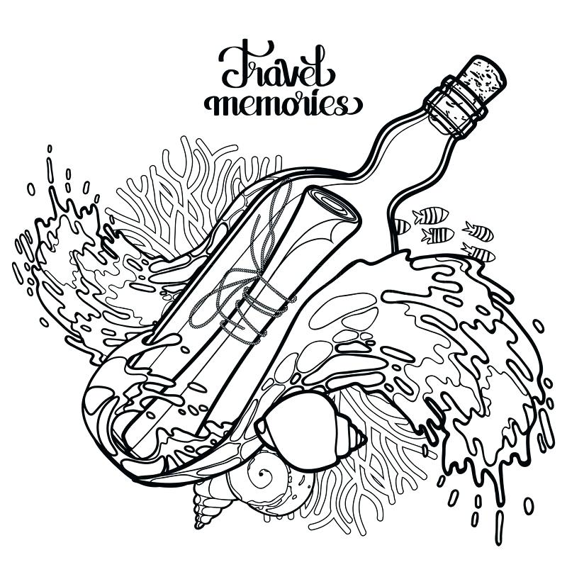 800x800 Water Bottle Coloring Page Message In The Bottle Among The Storm