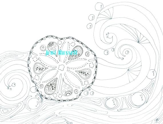 570x433 Waves Coloring Pages Sand Dollar And Waves Coloring Page Beach