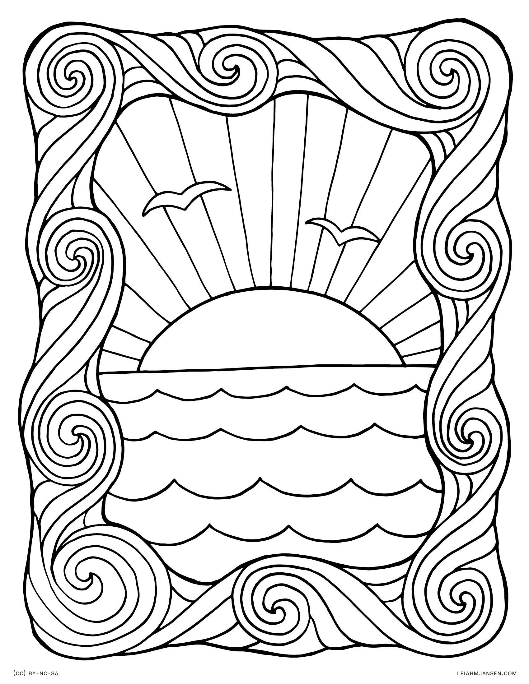 1700x2200 Wave Coloring Sheet