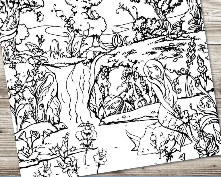 770x616 Forest Waterfall Coloring Page