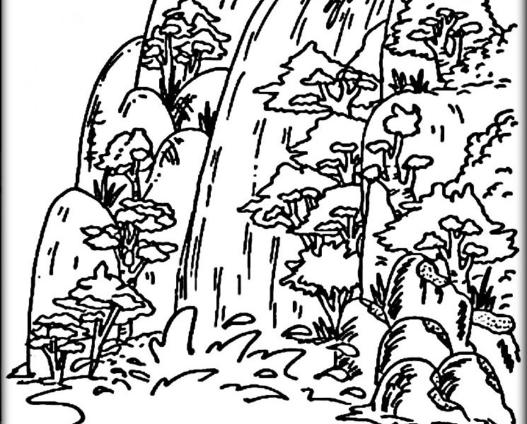 745x600 Modern Design Coloring Page Waterfall Amazing Waterfall Coloring
