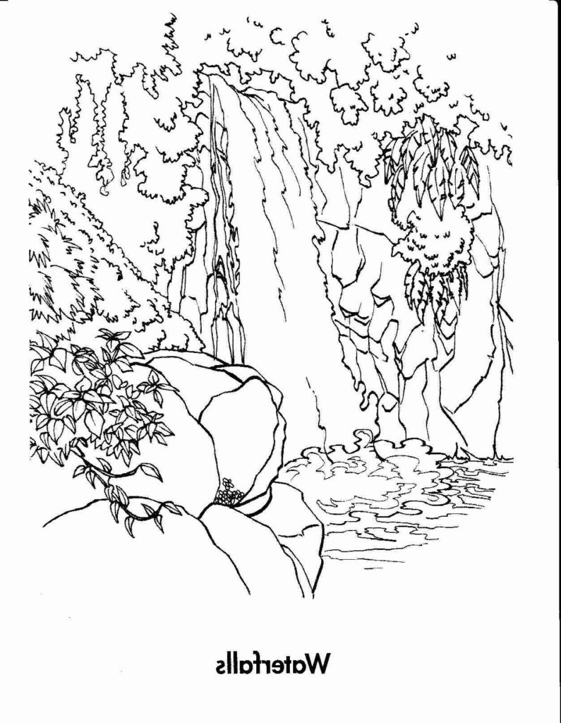 795x1024 Waterfall Coloring Page Get Bubbles