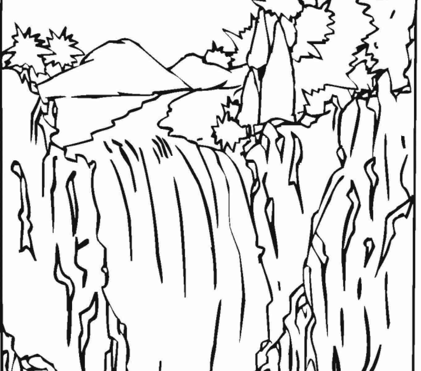 1362x1200 Waterfall Coloring Page Beautiful Pages In Nature Adult Free