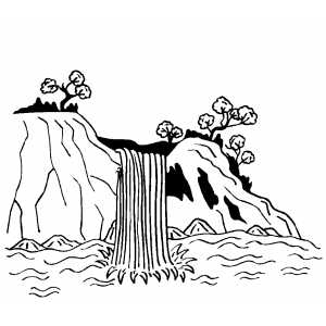 300x300 Waterfall Coloring Page