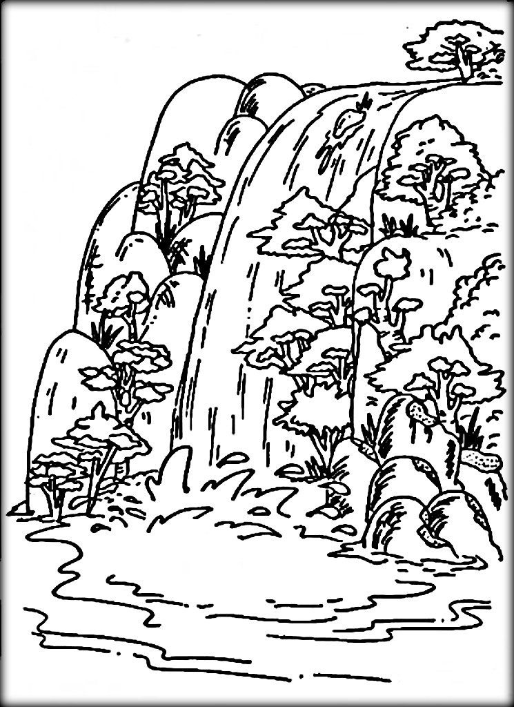 745x1024 Waterfall Coloring Pages For Adults