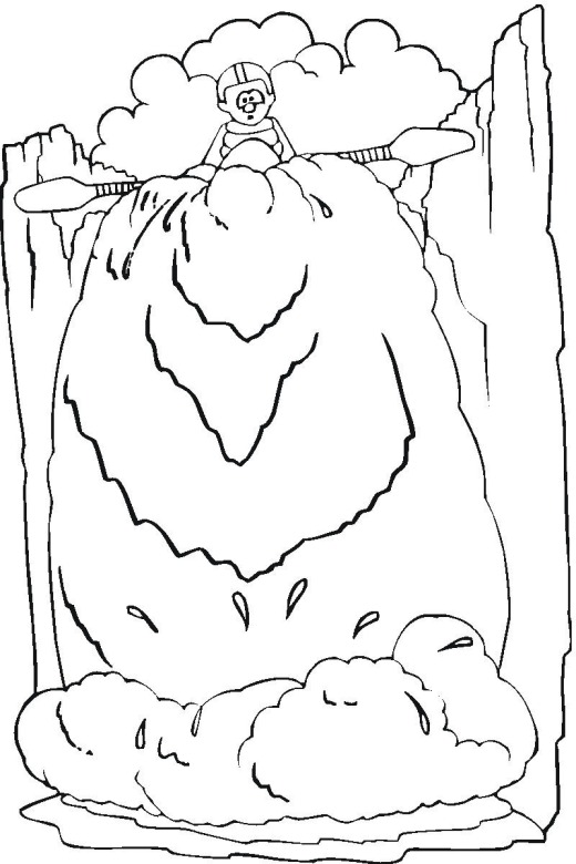 520x780 Waterfall Coloring Page