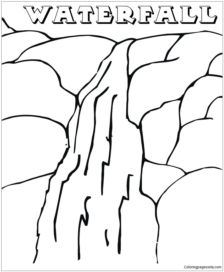 856x1039 Coloring Pages Waterfall New The Waterfall In The Mountains