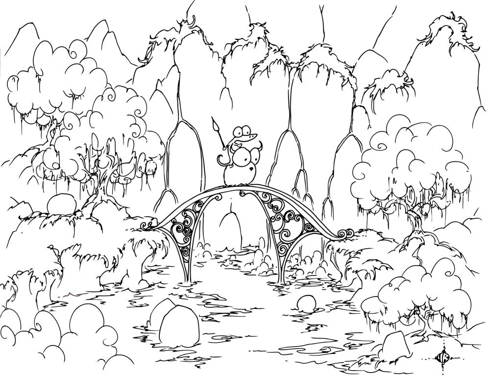 1000x769 Coloring Page Alligator Riding A Bison Across A Bridge