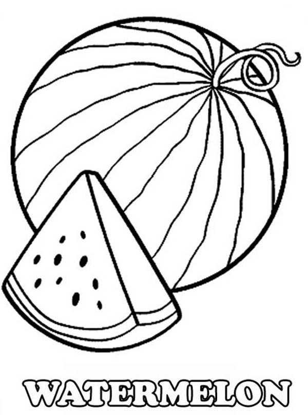 600x808 A Slice Of Fresh Watermelon Coloring Page Watermelon Birthday