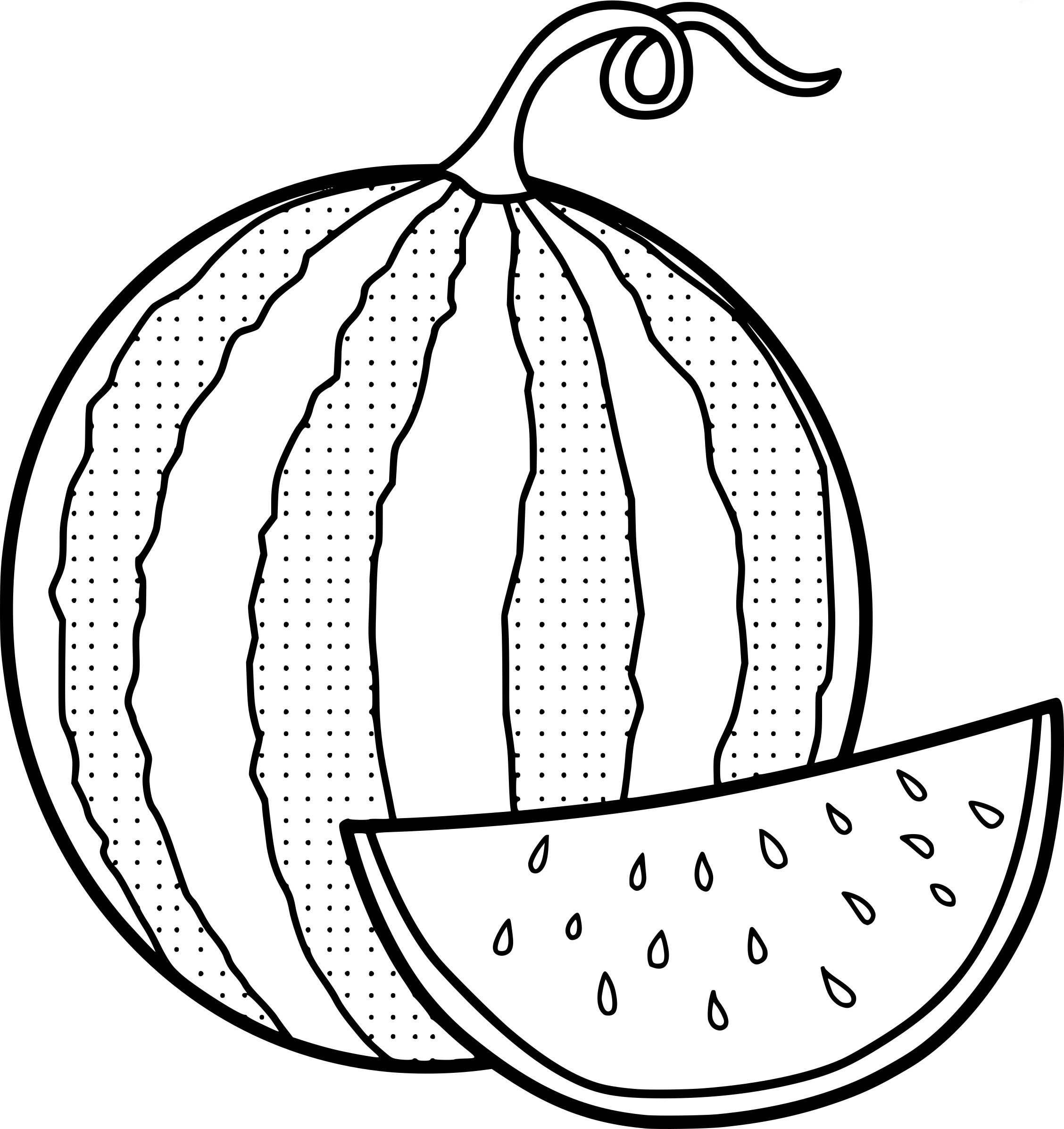 2256x2393 Modest Watermelon Coloring Page