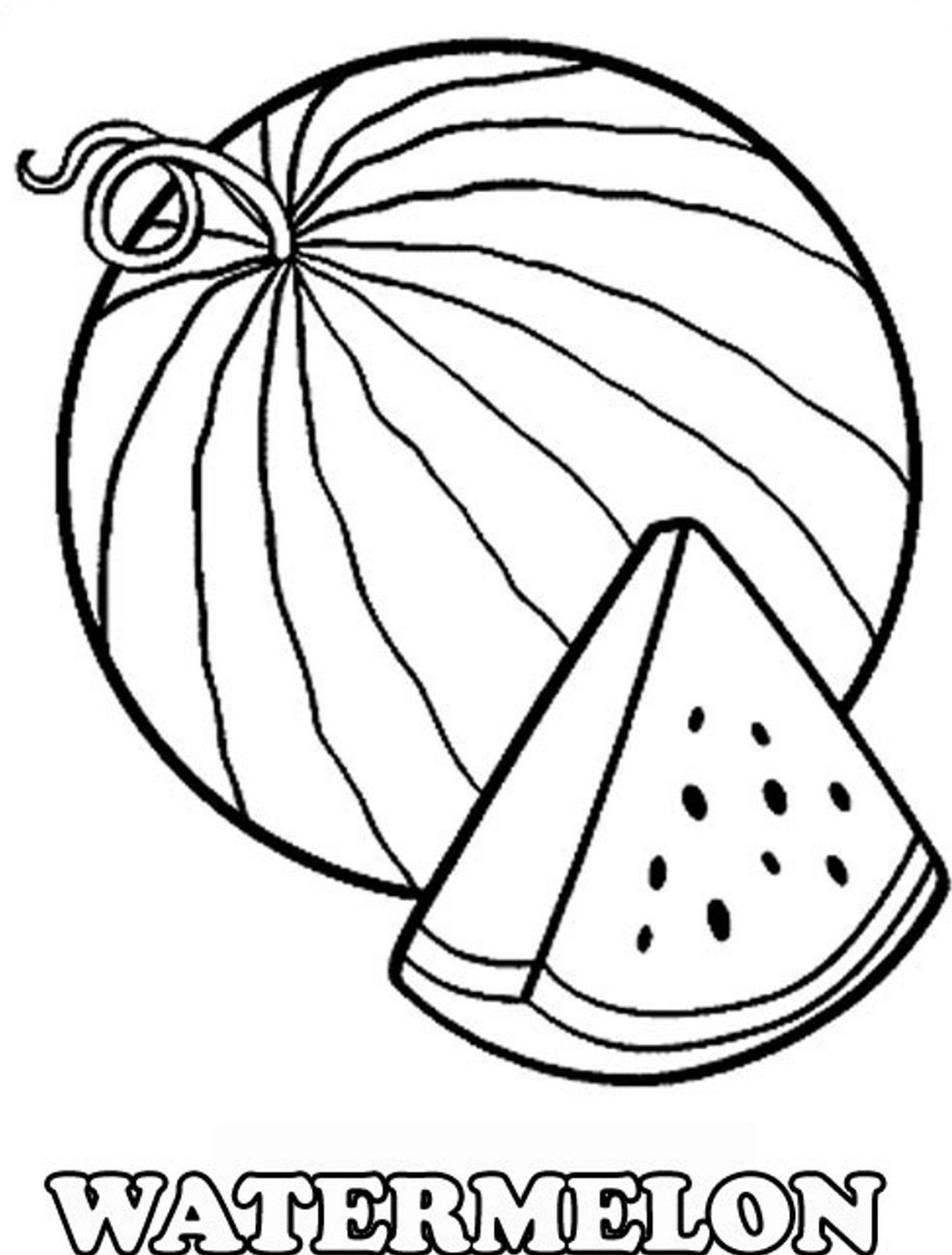 1738x2291 Coloring Pages For Kids Fruits Cartoon Watermelon Printable W Is