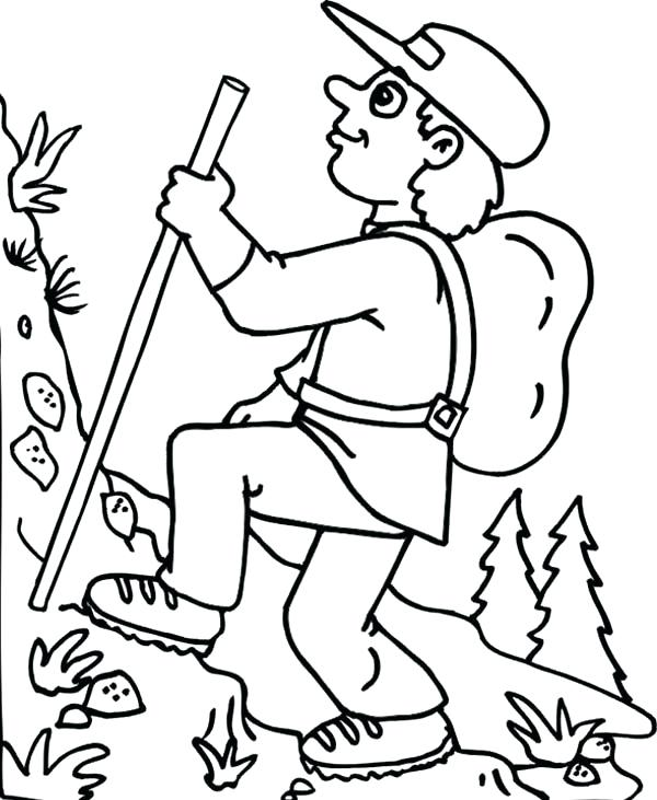 600x731 Camp Coloring Pages Hiking On Summer Camp Coloring Page Campground