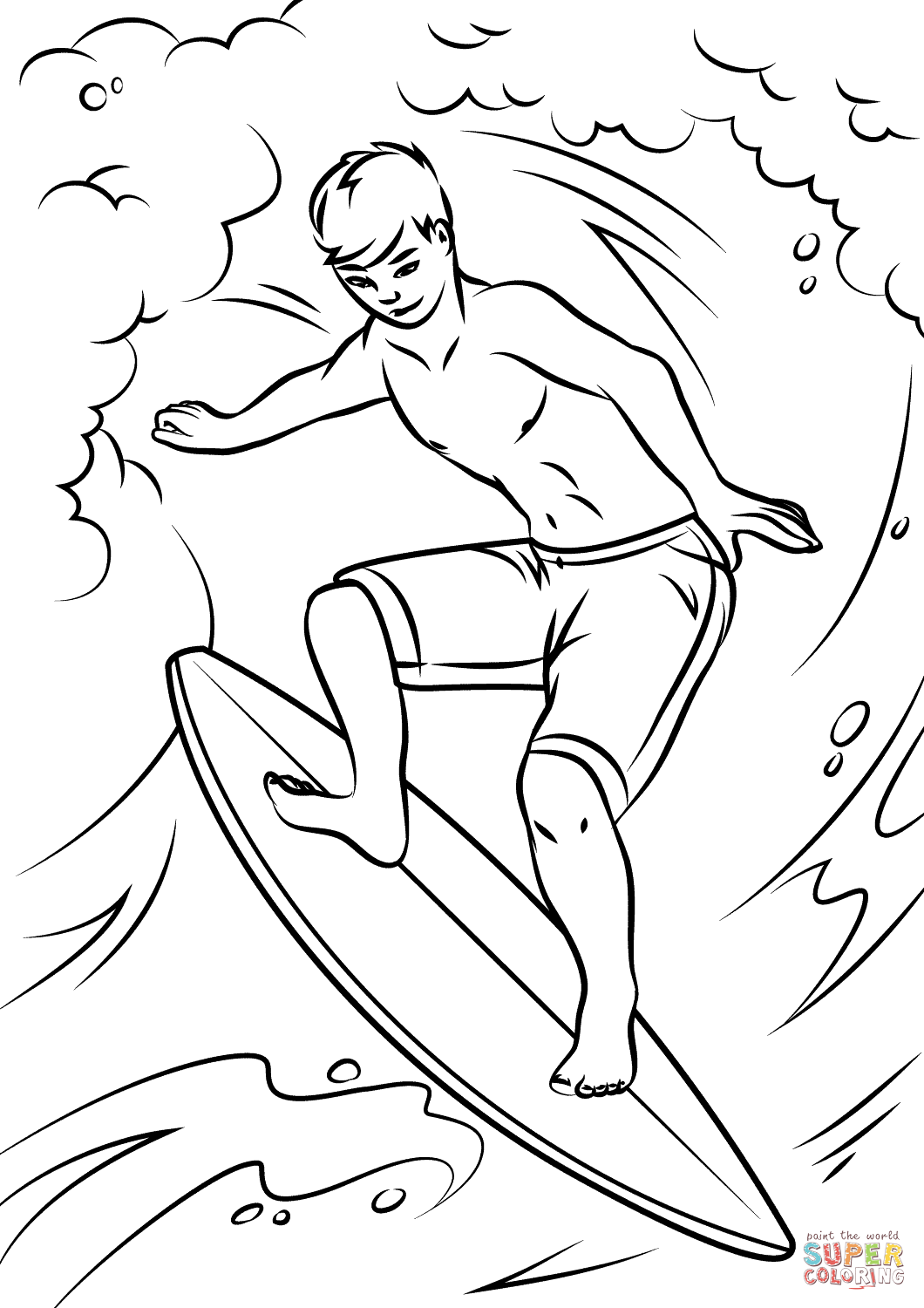 1060x1500 Riding The Waves Coloring Page
