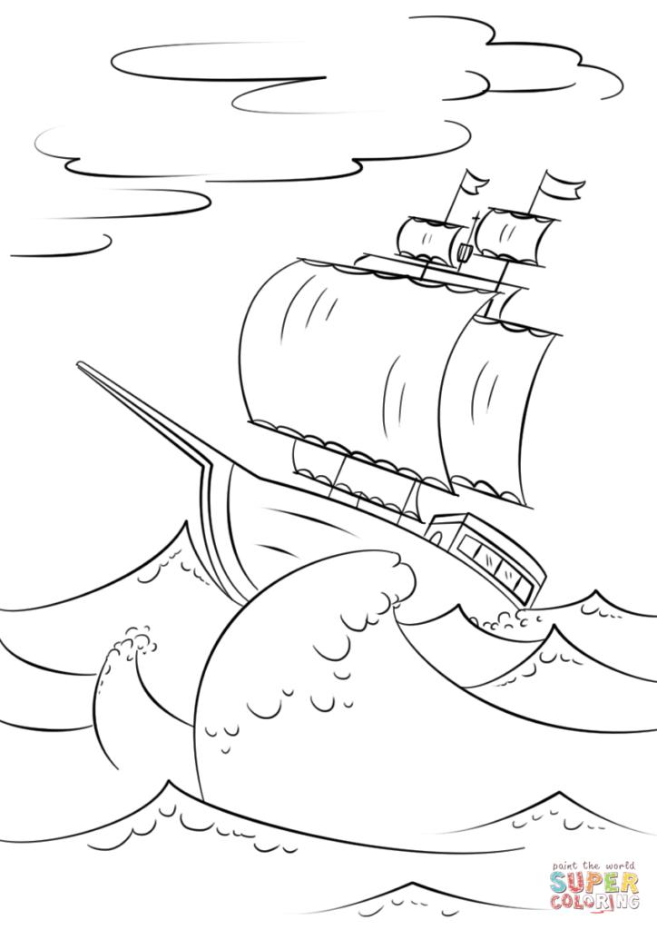 724x1024 Sailing Ship On Huge Ocean Waves Coloring Page Free Printable