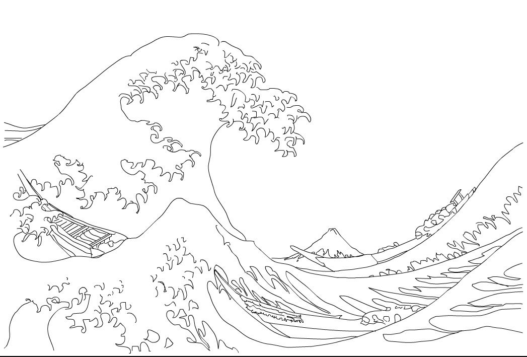 1047x709 The Great Wave Coloring Page Hokusai The Great Wave