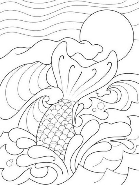 470x626 Mermaid Tail Splashing In The Waves Coloring Page Mermaid