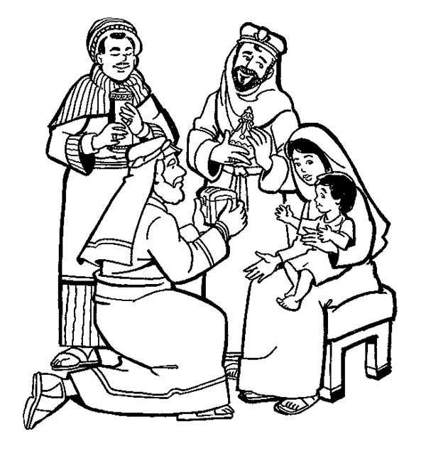 600x652 The Three Kings Adoration To Jesus Coloring Pages Batch Coloring
