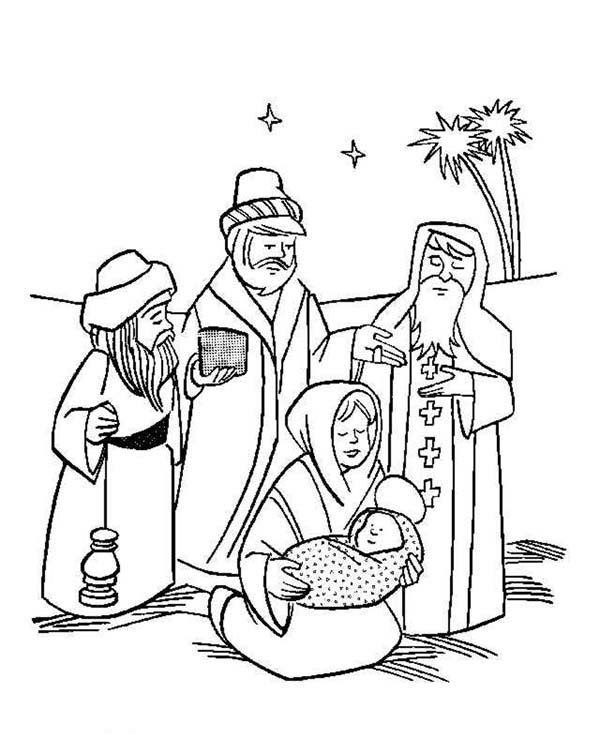 600x754 Three Kings On The Desert With Mary And Baby Jesus Coloring Pages