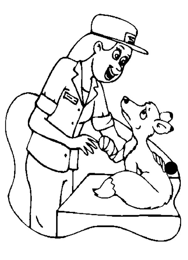 600x831 A Veterinarian Checking A Weasel In Community Helpers Coloring