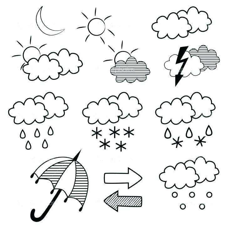 728x728 Weather Coloring Pages Cloudy Weather Coloring Sheet Weather
