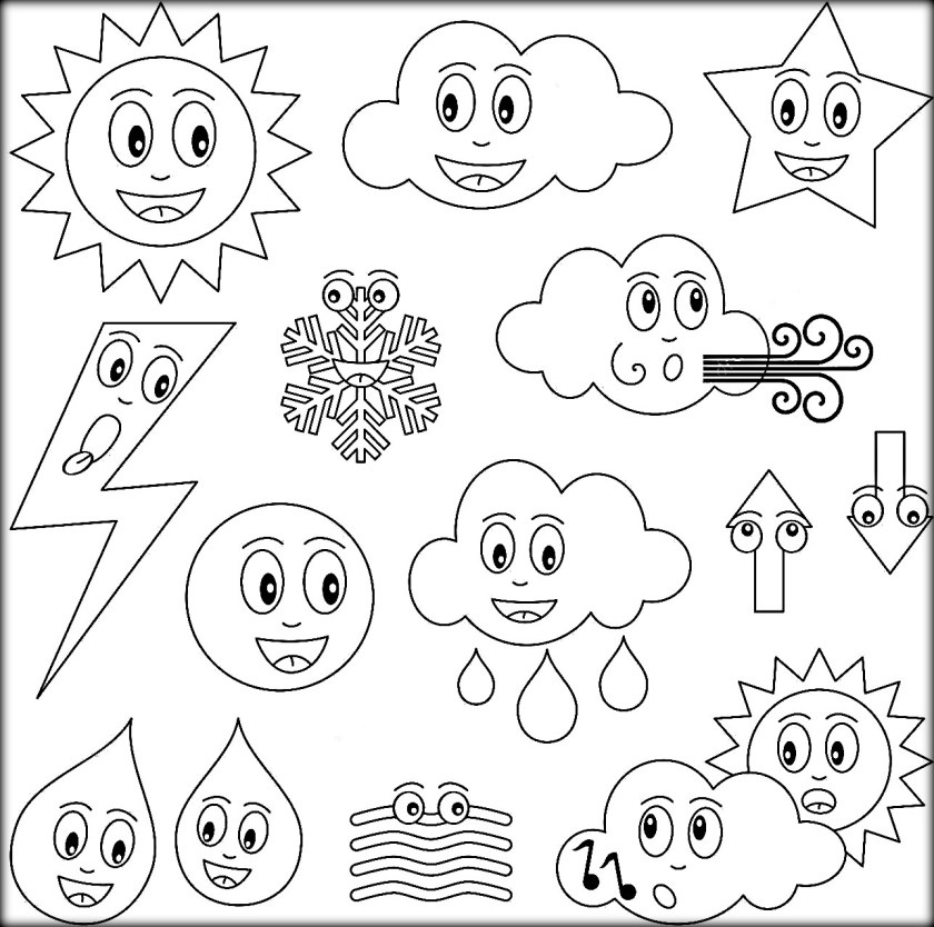 840x834 Weather Coloring Pages New Free Printable Weather Coloring