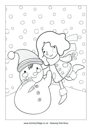 320x452 Winter Colouring Pages For Kids Building A Snowman Colouring Page