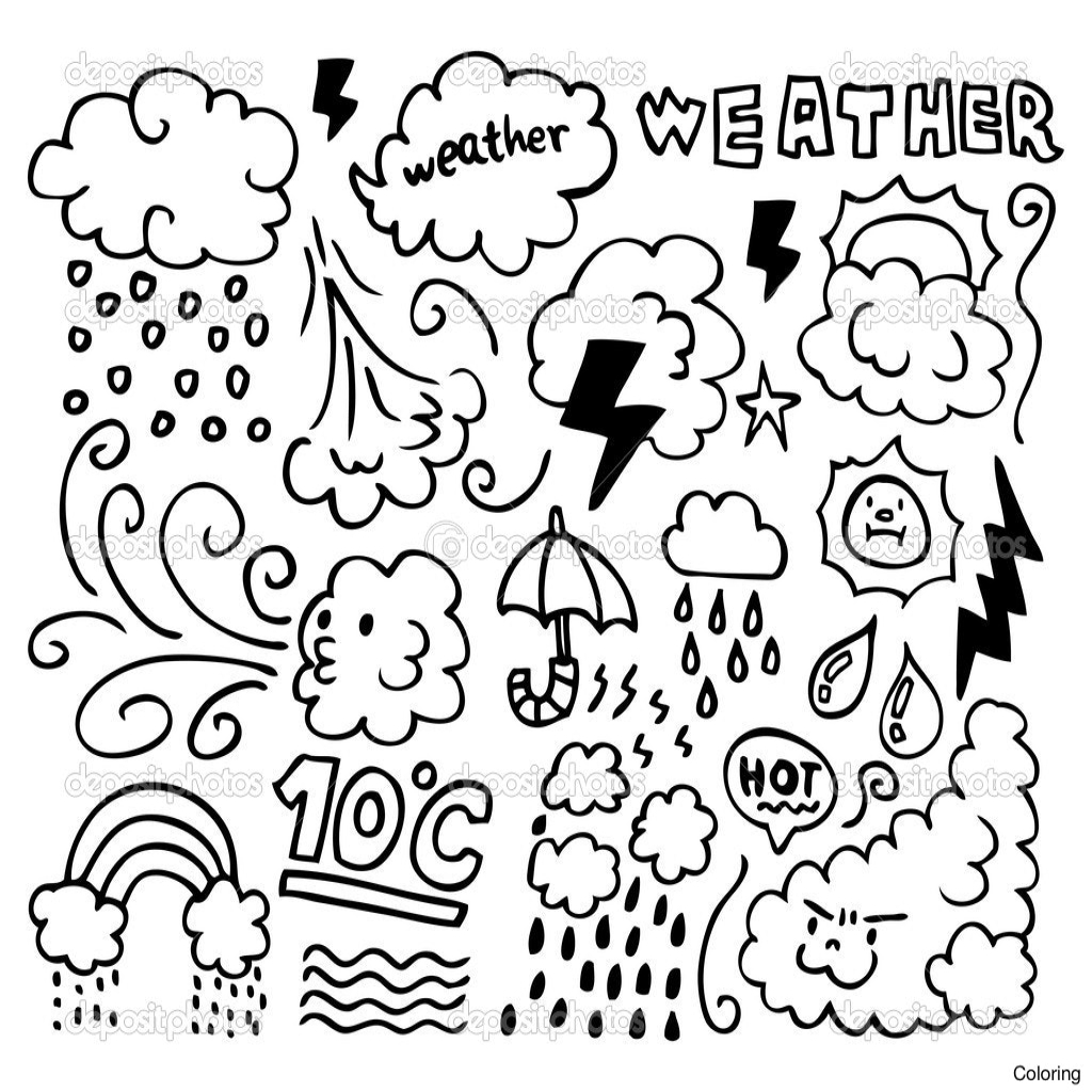 1024x1024 Weather Coloring Pages Qqa Regarding The Most Nice Weather