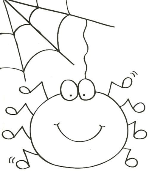 500x606 Cute Spider And Spider Web Coloring Page Thema Spinnetjes