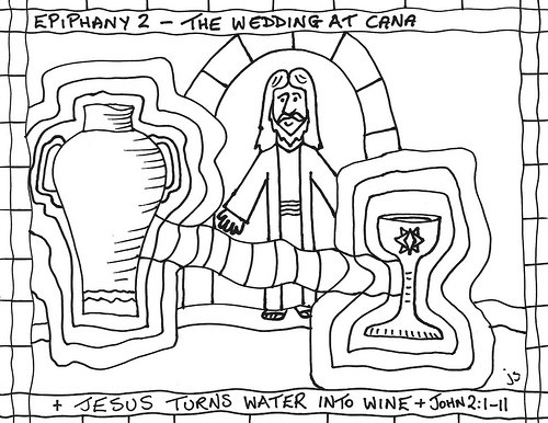 500x386 Jesus Turns Water Into Wine Coloring Page Prepossessing Jesus