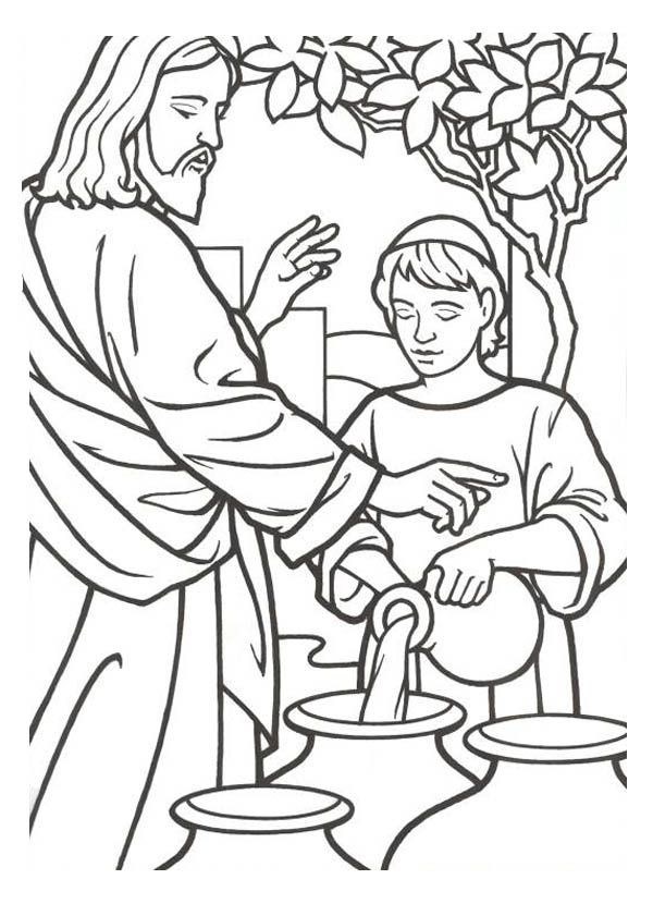 600x841 Water Into Wine Coloring Sheet