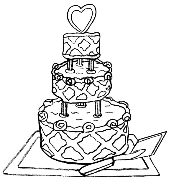 590x615 Coloring Book Wedding Cake