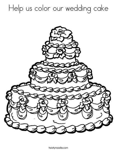 468x605 Help Us Color Our Wedding Cake Coloring Page