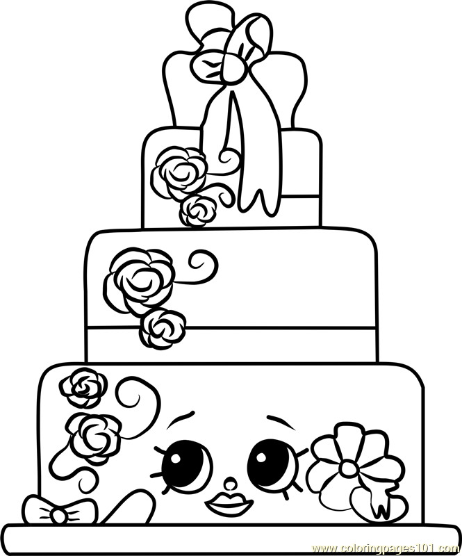 665x800 Wendy Wedding Cake Shopkins Coloring Page