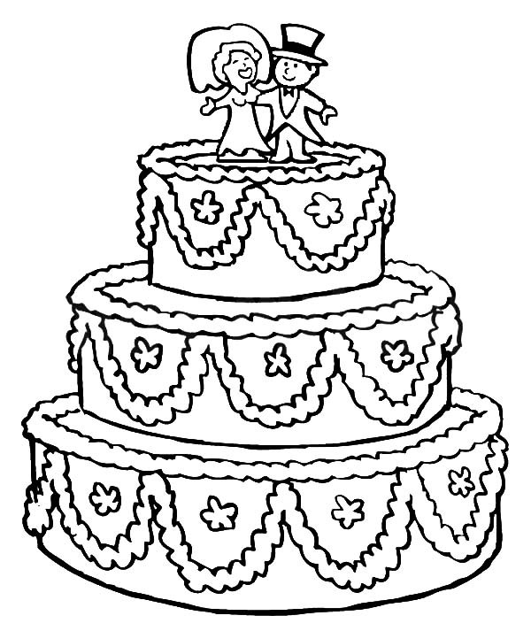 600x713 Beautifully Decorated Wedding Cake Coloring Pages Best Place