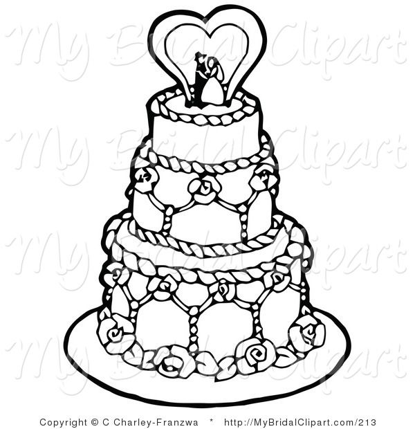 600x620 Bridal Clipart Of A Coloring Page Of A Black And White Tiered