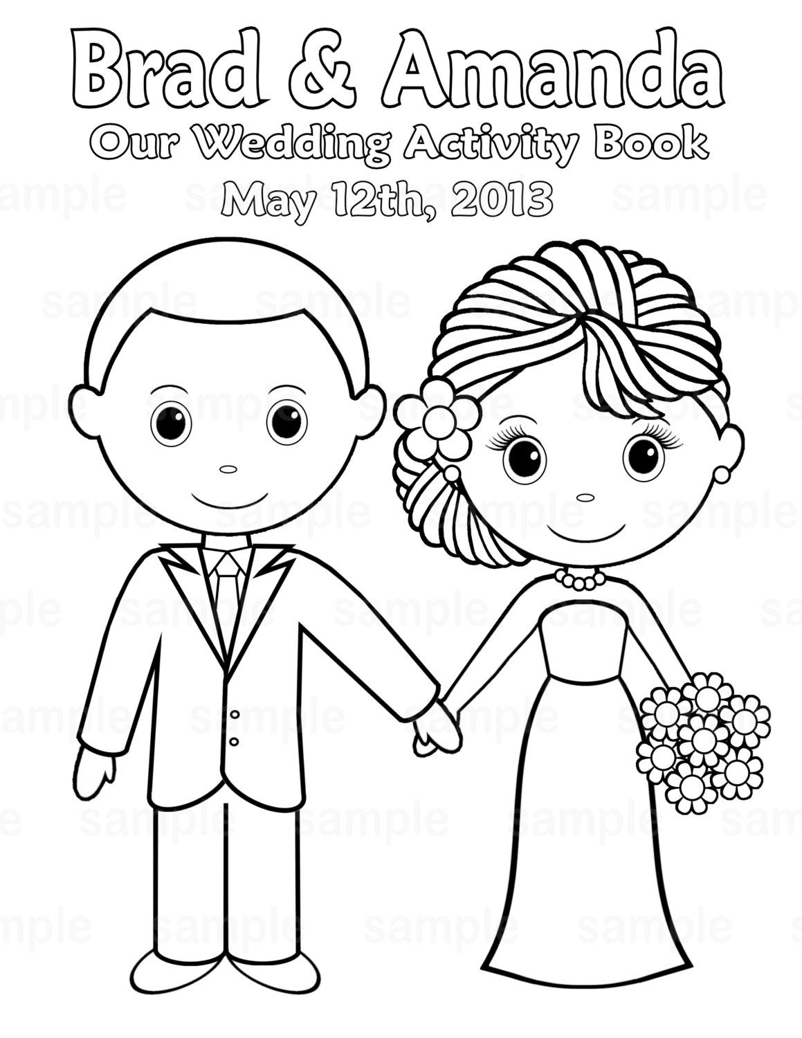 1159x1500 Printable Personalized Wedding Coloring Activity Book Favor Kids