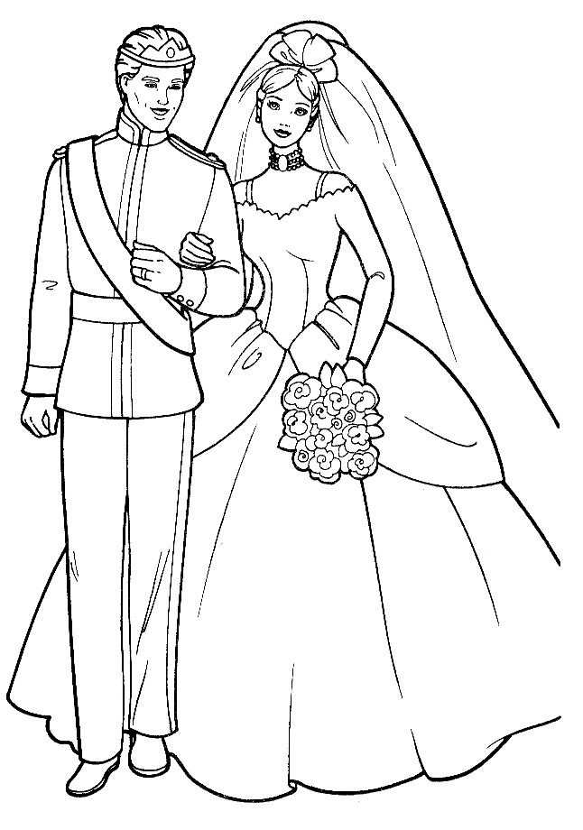 646x920 Barbie Wedding Coloring Page