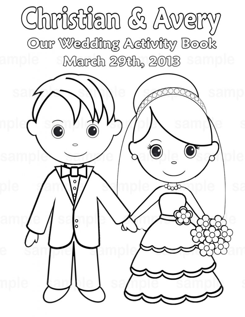 791x1024 Kids Bride And Groom Coloring Pages Free Great Wedding Easy