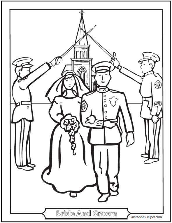 590x762 Marriage Coloring Page Couple, Military Salute, Church