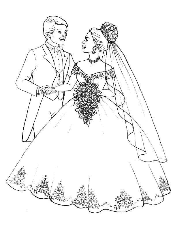 600x800 Prepare To Throw Flower Bouquet In Wedding Coloring Page