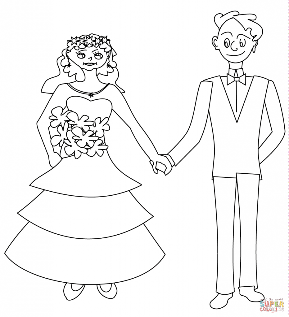 931x1024 Wedding Couple Coloring Page Download And Printable