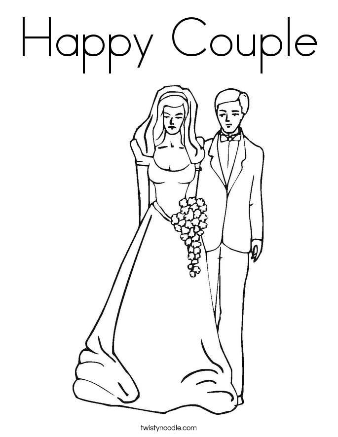 685x886 Happy Couple Coloring Page