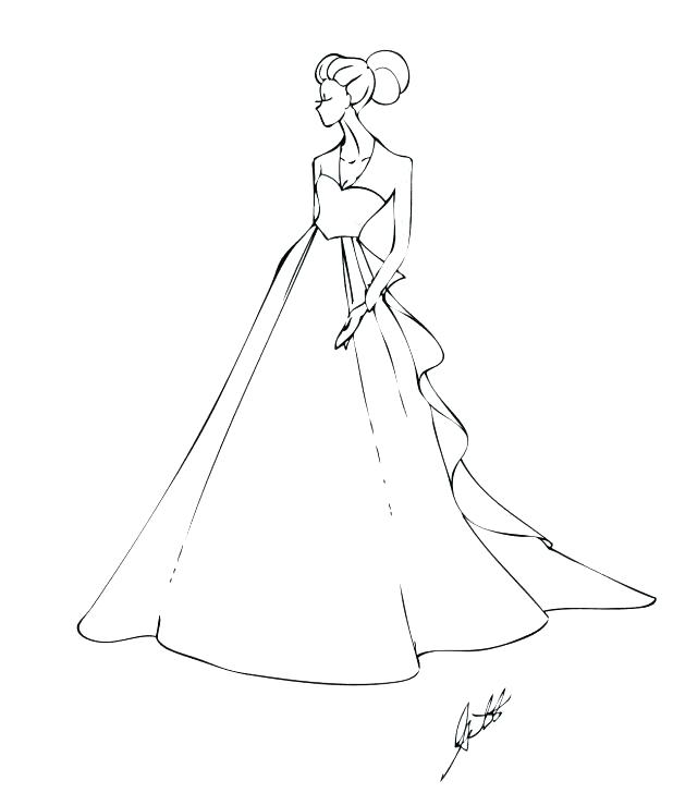 618x728 Dress Coloring Pages Wedding Dresses Coloring Pages Captivating