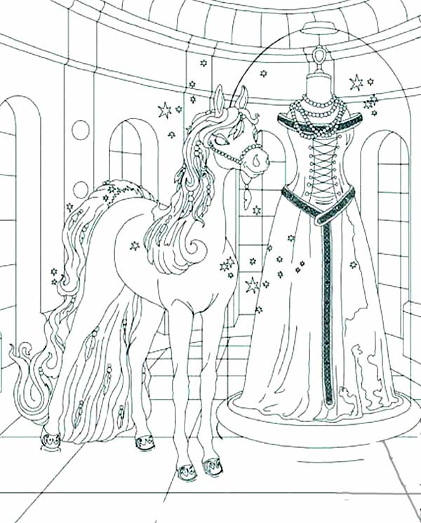 600x746 Bella The Magical Horse And Wedding Dress Coloring Pages Batch