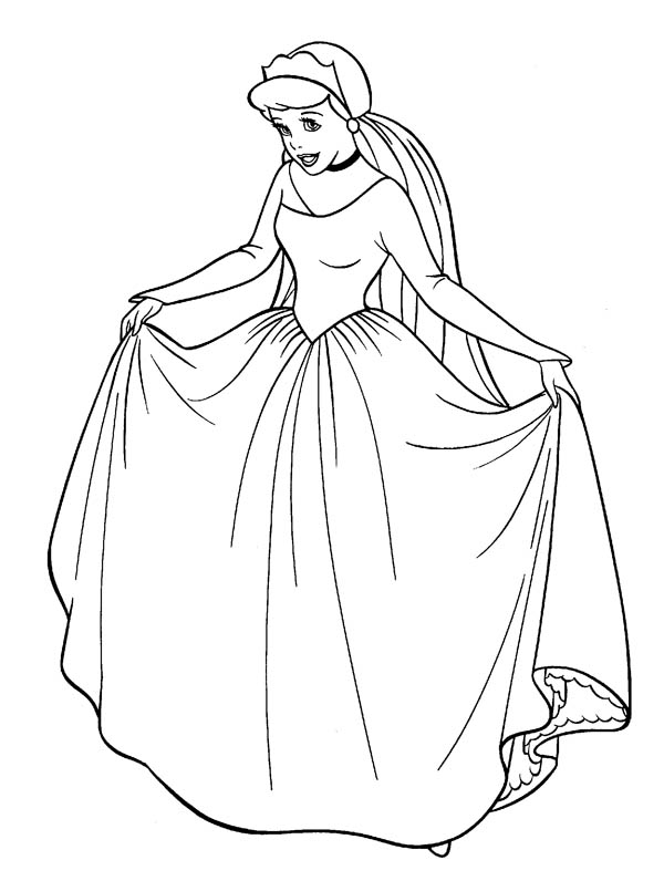 600x796 Cinderella In Her Wedding Dress In Cinderella Coloring Page