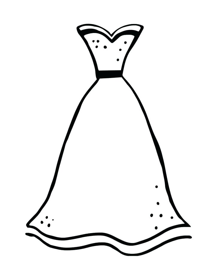 728x910 Coloring Page Of A Dress Collection Kids Wedding Dress Coloring