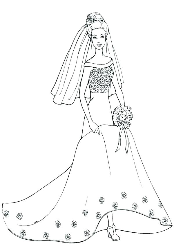 600x840 Wedding Dress Coloring Pages In Wedding Dress Coloring Page