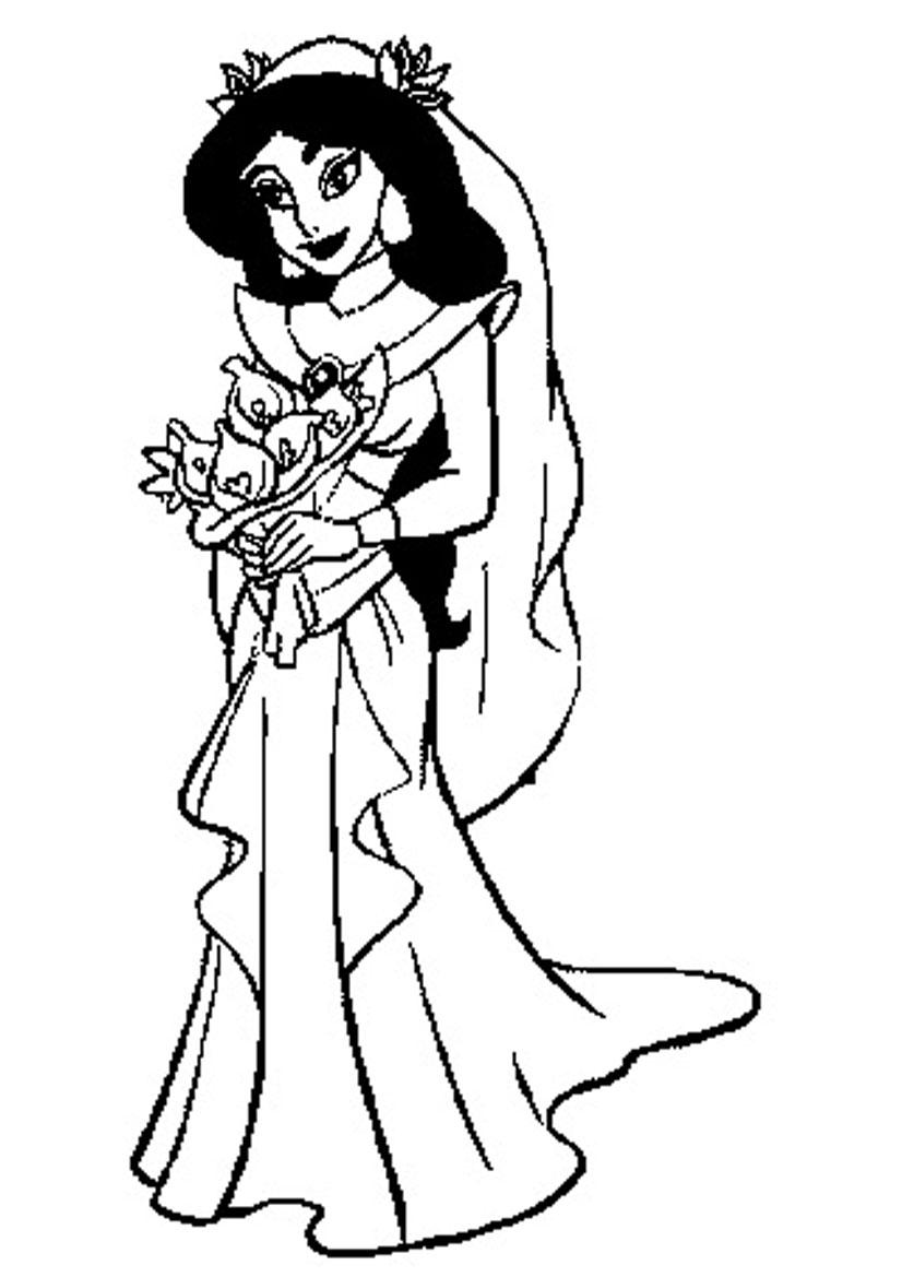826x1169 Jasmine In Wedding Dress Coloring Pages Jasmine Printable Coloring