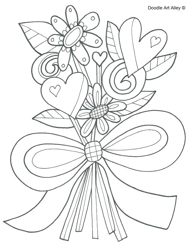 Wedding Flowers Coloring Pages At Getdrawings Com Free For